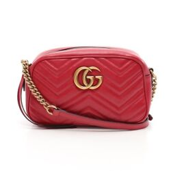 Gg Marmont Chain Shoulder Bag Razor Red 447632 Previously Owned No.831
