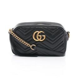 Gg Marmont Chain Shoulder Bag Razor Black 447632 Previously Owned No.827