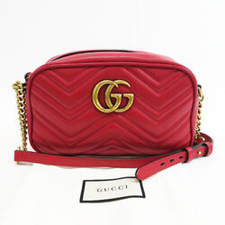 447632 Chain Shoulder Bag Gg Marmont Red System Previously Owned No.728