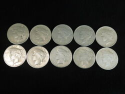 1922 P-d-s Peace Silver Dollars 1/2 Roll 10 Coins Vf-xf 90 Silver L1