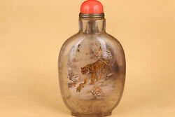 Chinese Natural Hair Crystal Snuff Bottle Hand Painting Tiger