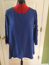 Ali Miles Blue Cutout/button Sleeves Tunic Top Small Nwt 69