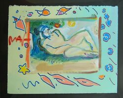 Peter Max Lady Laying Under Tree Original Mixed Media Painting Art Signed