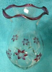 Lenox Etched Glass Vase Cranberry Pink Flowers Hand Painted Scalloped Rim