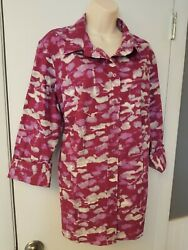Exc Coldwater Creek 1x/18 Pink 3/4 Sleeve Cotton Button Shirt Top Blouse