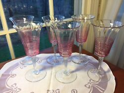 6 Steuben Carder Threaded Cranberry On Clear Hand Blown Glass Water/wine Goblets