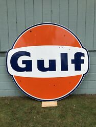 All Original Nice 1966 Single Sided Porcelain 6' Gulf Gas Oil Sign