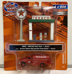 Mini Metals Ho Scale Texaco 1960 Ford Tank Truck With Gas Pumps And Sign 40002