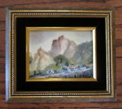 North Dakota Mountain Butte And Village Watercolor Painting Mystery Artist Signed