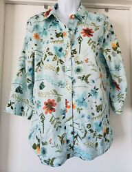 Coldwater Creek Blouse Shirt Size S Pretty Floral Cotton Top 3/4 Sleeve Buttons