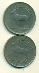2 Large 1 Punt Coins W/ Deer From Ireland Dating 1990 And 1994