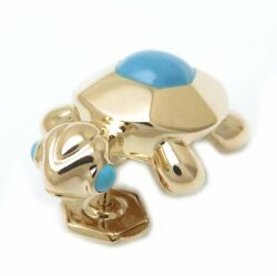 Mint Auth 18k Yellow Gold Turquoise Turtle Motif Pin Brooch /095402