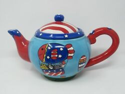 Catzilla Candace Reiter Patriotic July 4th Teapot Balloon Fish Dove 2001