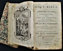 1796 Antique Bible Ot Nt Apocrypha Notes Annotations Thological Moral Divine Ill