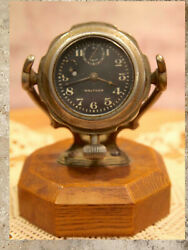 Antique 1920and039s Waltham 8 Day Automobile Clock 7j With Adjustable Stand B10