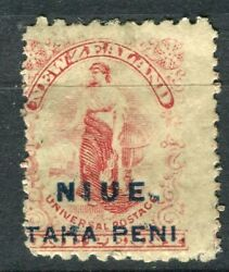 Niue 1917-21 Early Nz Surcharged Issue Mint Hinged 1d. Value Shifted Perf