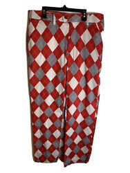 Loudmouth Golf Pants 34x34 Menand039s Red Gray Diamond Pattern