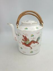 CHINESE PORCELAIN TEAPOT HAND PAINTED DRAGON PHOENIX PEARL WOVEN HANDLE FLAT LID