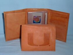 Miami Hurricanes  Leather Trifold Wallet   New  Tan 3 Z Ins
