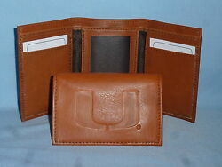 Miami Hurricanes  Leather Trifold Wallet  New  Brown 2