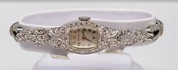 Antique 1950s 10,000 And Co Vs H Diamond 14k White Gold Ladies Watch Wty