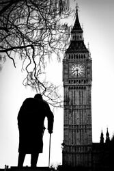 Big Ben And Sir Winston Churchill Statue Westminster London Black And White Phot