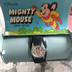 Vintage Bradley Mighty Mouse Swiss Mechanical Watch With Original Coffin Case