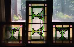 Matching Set Of Judaica Stained Glass Windows