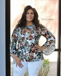 New Plus Size Womens Ivory Floral Flare Sleeve Relaxed Tunic Shirt 1x 2x 3x Usa