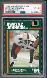 1994 Miami Bumble Bee Dwayne Johnson Rc Psa 4 Perforated New Label Free Ship
