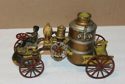 Early 1900's Wilkins Wind Up Fire Pumper Truck With Driver And Bell