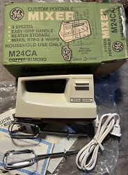Vintage New Ge General Electric 3 Speed Portable M24 Hand Mixer Coffee Almond