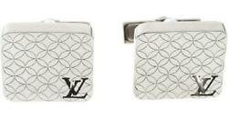 Louis Vuitton Champs Dand039 Elysees Silver Cuff Links + Damier Case. Mint Brand New.