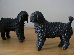 Antique Pair Of 19th Century Naively Carved Wooden Poodles