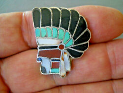 Old Native American Zuni Multi-stone Inlay Sterling Silver Indian Chief Ring