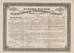 1914 Ppie Stock Certificate 10 Shares In The Panama Pacific Intand039l Exposition Co