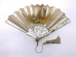 19th C. French Hand Painted On Silk Farm Scene And Mop With 14k Gold Monogram Fan