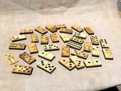 Antique Bone And Ebony Dominoes, Brass Pinned, 32 1/2 Pieces, W/ Old Box