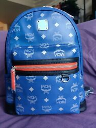 New Mcm Blue Leather And Reflective Nylon Backpack. Auth. Dust Bag And Info Pack