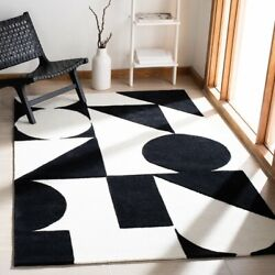 Dave Geometric Black And White Hand-tufted 100 Wool Soft Area Rug Carpet