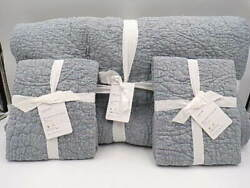 Pottery Barn Belgian Floral Stitch King Quilt W/ 2 Standard Shams Chambray 9788q
