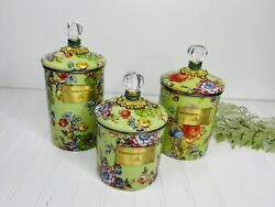 Mackenzie Childs Canister Set Of 3 Green Flower Market Enamel With Glass Finial