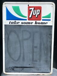 Vintage 7 Up Take Some Home Tin Metal Chalkboard Embossed Sign Stout 1968 Wow