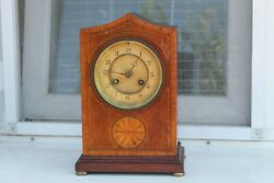 Vintage Old German Made Desk Alarm Clock With Gong Wooden Corpus Marquetry