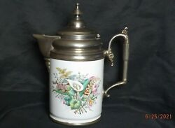 Graniteware Enamel And Pewter Coffee Pot Antique W/ Floral Calla Lily Pattern