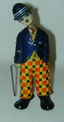 Rare Charlie Chaplin Litho Tin Wind-up Toy Made In Italy Bell 1920