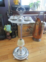 44 Antique Ashtray Foot Base Marble Onyx 29 In Tall 4 Little Dish On Top