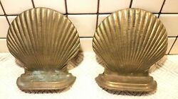 Vintage Pair Of Solid Brass Sea Shell Bookends Nautical Decor. 5 Inches Tall
