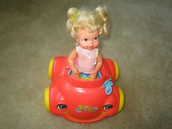 Rare 1969 Mattel Baby Go Bye-bye And Her Bumpety Buggy Car, Motor Seems To Work