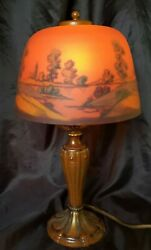Antique Reverse Hand Painted Landscaping Motif Miniature Table Lamp Lovely 14,5